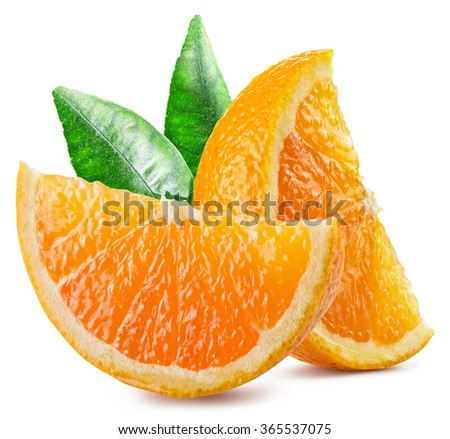 Two segments of orange fruit with leaves. File contains clipping paths. - stock photo