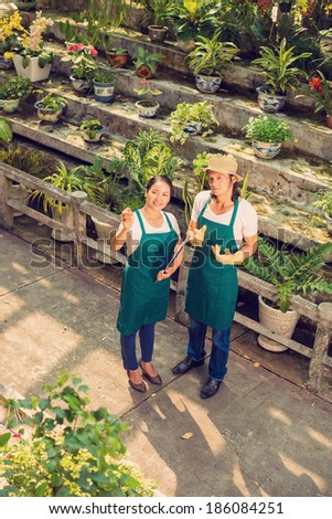 Two selectionists of Asian ethnicity discussing new sorts of plants in the greenhouse - stock photo