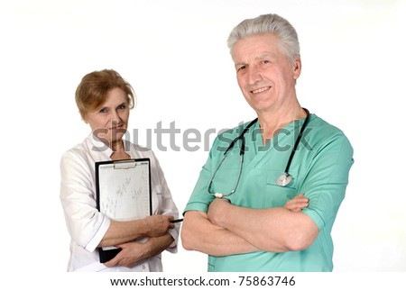 two senior doctors standing on white background - stock photo