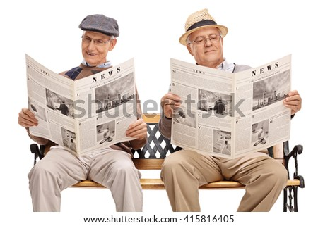 Two senior gentlemen sitting on bench and reading newspapers isolated on white background - stock photo