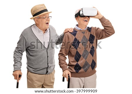 Two senior gentlemen using a VR headset isolated on white background