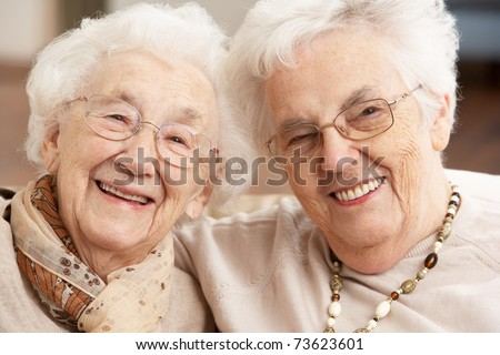Two Senior Women Friends At Day Care Centre - stock photo