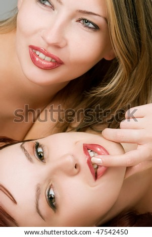 Two sensual female lovers portrait - stock photo