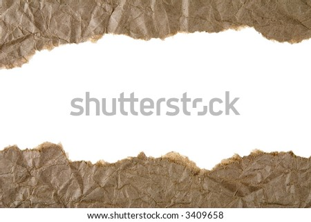 Two separate strips of ripped brown paper - stock photo