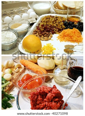 Two sets of food ingredients for traditional English dishes - Christmas pudding and Shepherd's or Cottage pie - stock photo