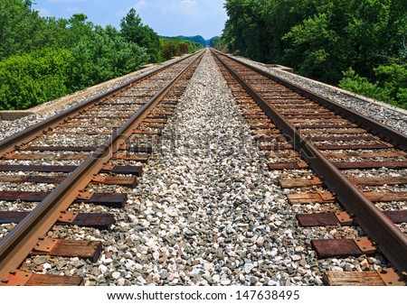 Two sets of railroad tracks run straight and parallel to a vanishing point on the horizon with green trees along side. - stock photo