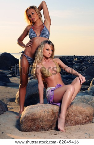Two sexy blondes posing on the beach - stock photo
