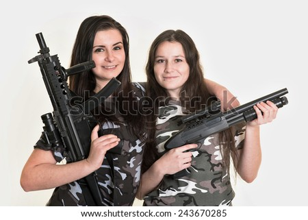 two sexy female soldiers - stock photo