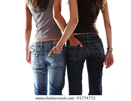 two sexy girl friend - stock photo