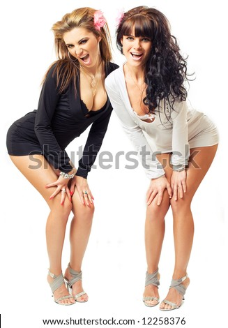 two sexy girls isolated over white background - stock photo