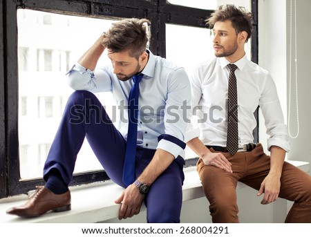 Two sexy handsome men posing - stock photo