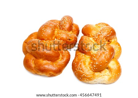 Two shabbat challah isolated on white background - stock photo