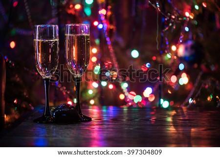 two shampagne glasses - stock photo