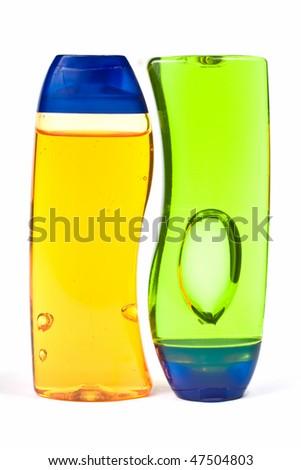 Two Shampoo Bottles Isolated On white Background - stock photo