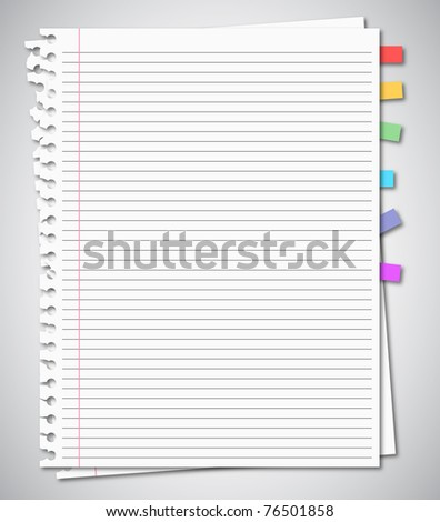 Two sheets from notebook with bookmark - stock photo