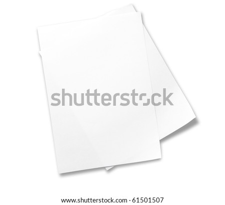 Two sheets of memo papers isolated on white. - stock photo