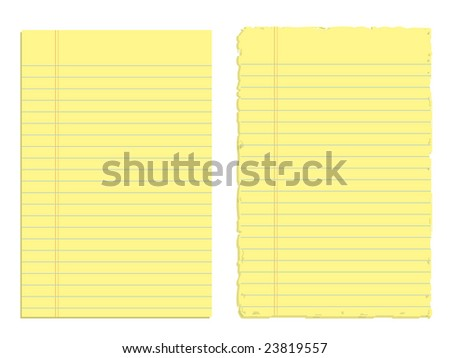 Two sheets of paper isolated on white (Vector version also available in my portfolio) - stock photo