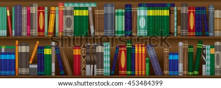 Two shelves of colorful books for decoration.
