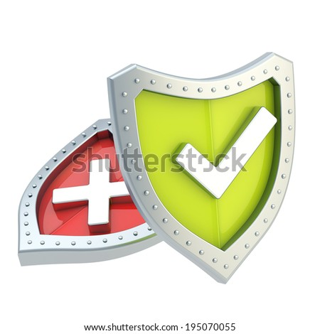 Two shield composition with yes tick symbol and no cross mark over the surface - stock photo