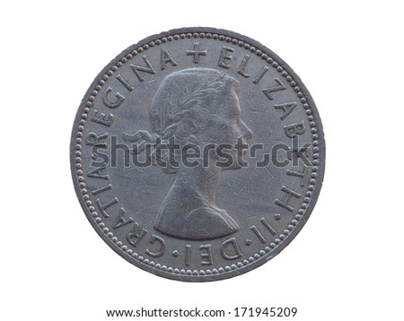 two shillings coin (GBP) released in 1964 - stock photo