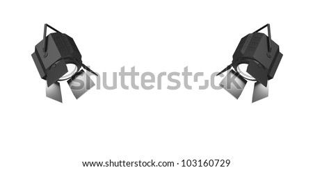 Two shining searchlights isolated on a white background. - stock photo