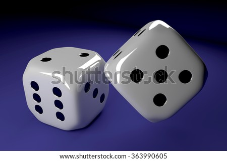 two shiny dice lying on blue table
