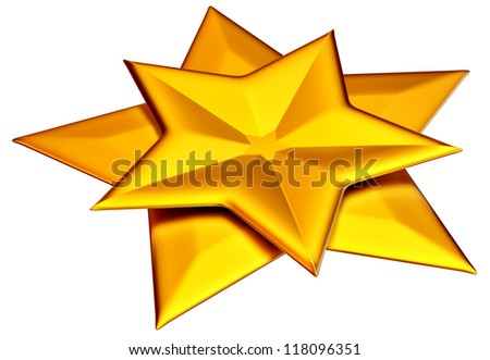 two shiny gold stars for advertise on a white background - stock photo