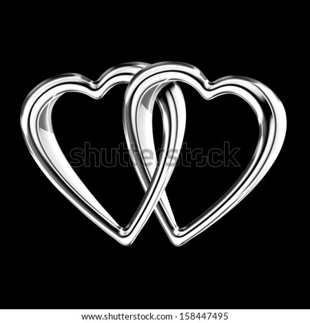 Two shiny silver hearts linked together as a token of shared love isolated on black - stock photo