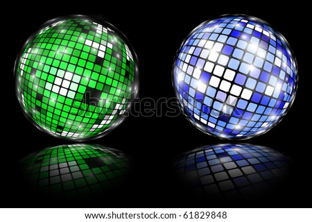 Two shiny spheres isolated