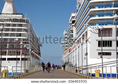 two ships in pier of Tallinn,sunny - stock photo