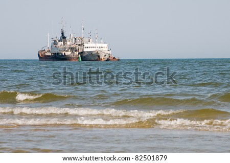 Two  ships in sea stand  on the anchorage