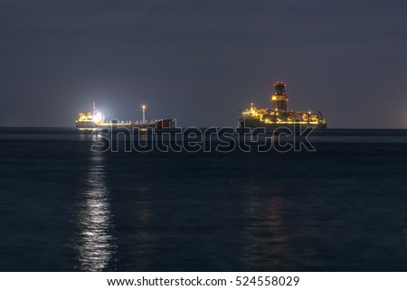 two ships in the night sea