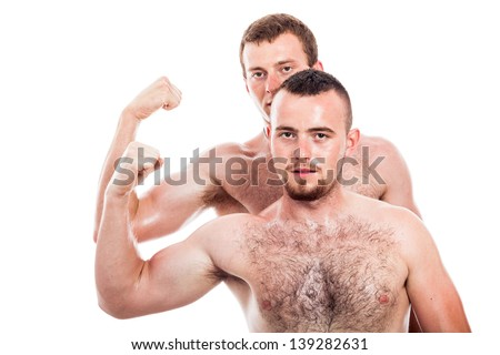 Two shirtless men showing biceps, isolated on white background - stock photo