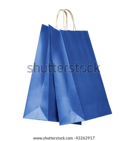 Two shopping bags. Blue color on white background. Clipping path - stock photo