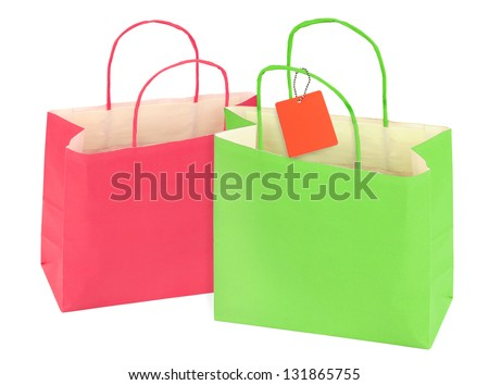 two shopping bags isolated on white background - stock photo