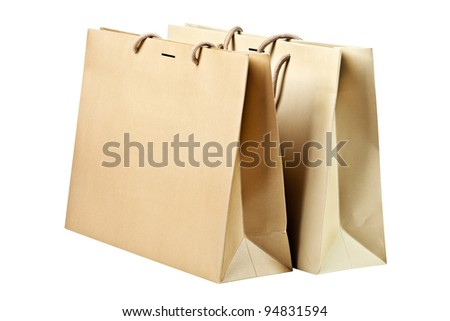 Two  shopping bags on white (with clipping path). - stock photo