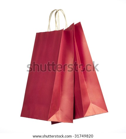 Two shopping bags. Red color on white background