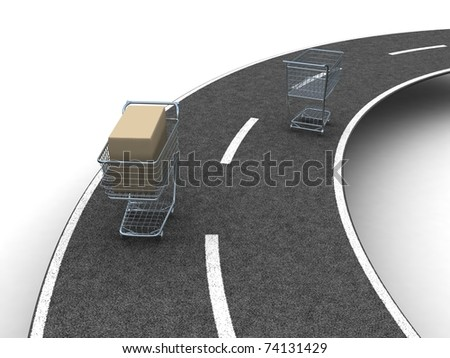 Two shopping carts- Idea of shopping transportation - stock photo