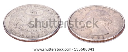 Two sides of a 25 cent (quarter) coin. Obverse side depicts president's George Washington profile portrait, reverse side depicts USA's coat of arms - the bald eagle. Isolated on white background. - stock photo
