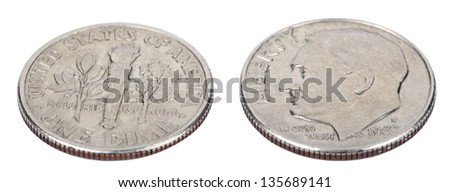 Two sides of a 10 cents (Dime) coin. Obverse depicts president's Franklin D. Roosevelt profile portrait; reverse side depicts torch, olive branch, and oak branch. Isolated on white background. - stock photo