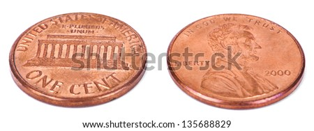 Two sides of a USA 1 cent (penny) coin.  This is the version of the penny that was produced between the years 1959-2008, depicting the Lincoln memorial. - stock photo