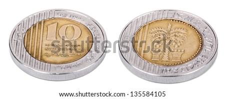Two sides of an Israeli 5 Shekels (Singular: Shekel) coin. Isolated on white background. - stock photo