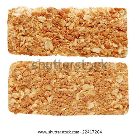 two sides of oat granola bar isolated on white - stock photo