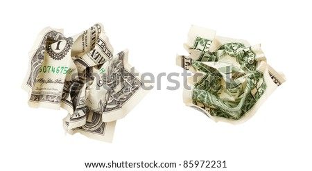two sides of one crumpled dollar isolated on white with clipping path included - stock photo