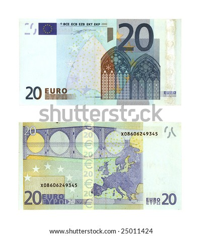 two sides of twenty Euro currency banknotes isolated on white background - stock photo