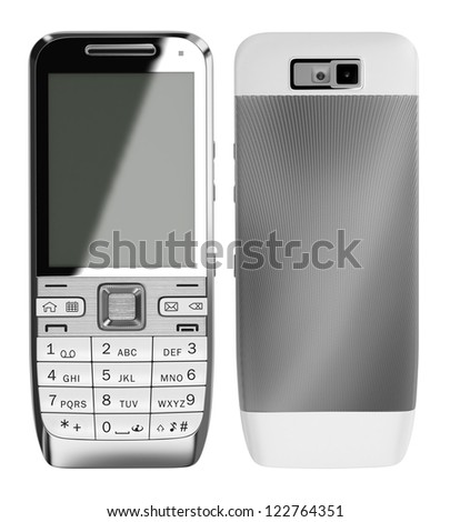 Two sides of white cell phone - stock photo