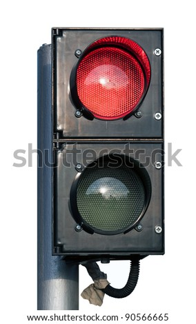 two signal red and green specific traffic light isolated over white - stock photo