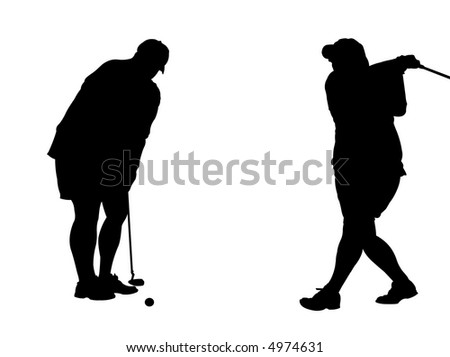 Two silhouettes of a woman golfer swinging and putting. Background is on a work path - stock photo