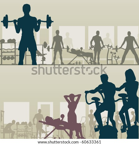 Two silhouettes of people exercising in a gym - stock photo
