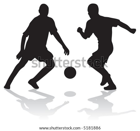 Two silhouettes of soccer players with ball